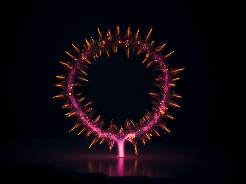 Crown of thorns Polish plasma neon art with red light