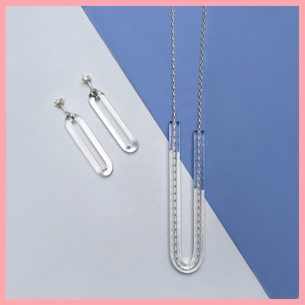 Minimal design glass and silver jewellery earings and necklace