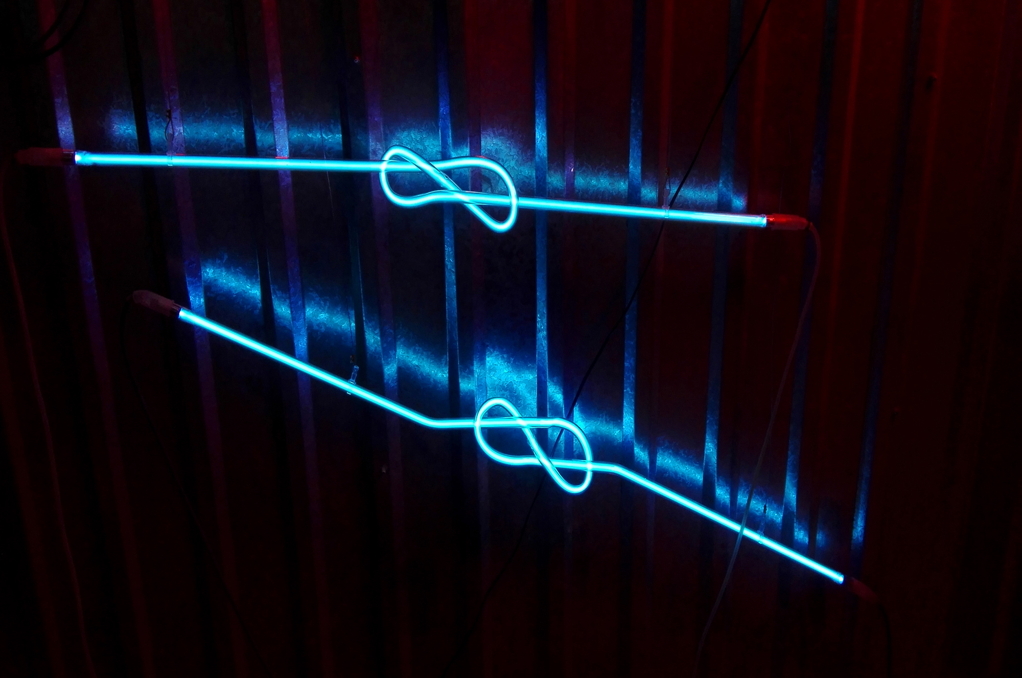 Polish neon art with blue light